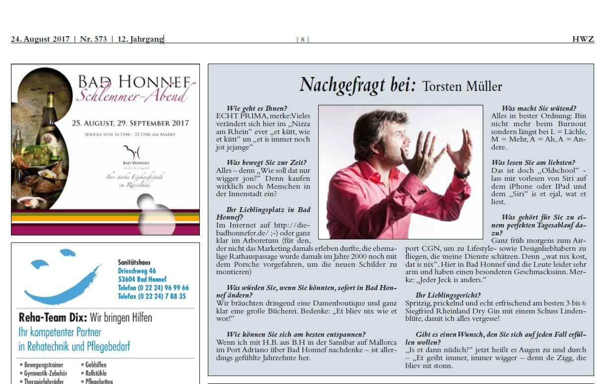 Die Bad Honnefer hat Nachgefragt bei: Designer Torsten Müller