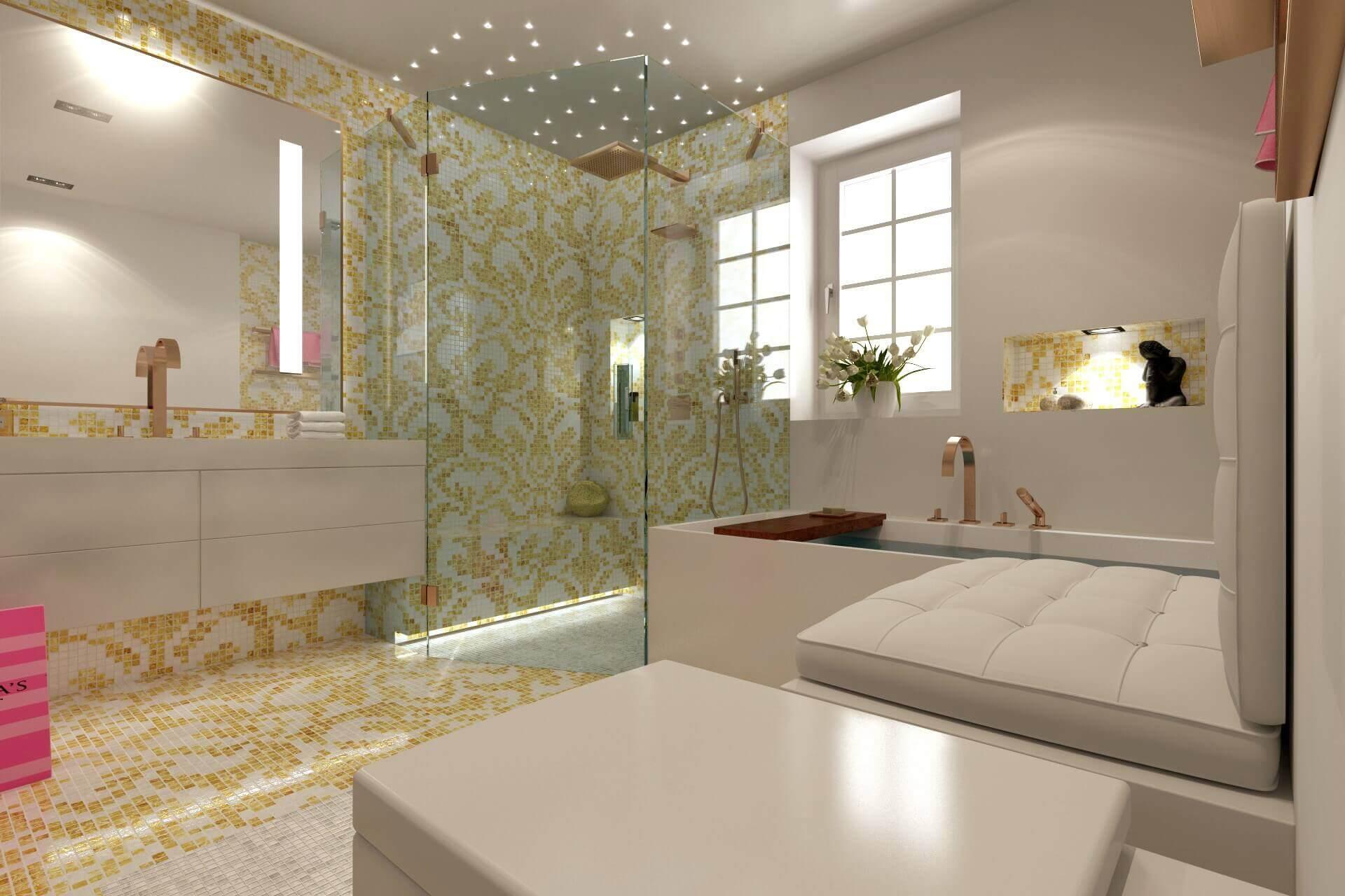 Kleine exklusive Bäder Kleines Badezimmer Planen - Die Grundlagen Kleine Badezimmer Ideen basieren stets bei Torsten Müller auf der Ganzheitlichkeit des Raumes. Im Gegensatz zu einem weitläufig geschnittenen Nassraum kommt es hier vor allem darauf an, die Offenheit des Bades als Ganzes zu bewahren. Eine Dusche, die von transparentem Glas umgeben und ebenerdig eingebaut ist, lässt das luxuriöse Badezimmer sogleich größer erscheinen, da sie Unterbrechungen vermeidet und sich organisch in das große Ganze einfügt. Zudem gibt Sie auch die Möglichkeit des ungehinderten Einlasses, das jedoch beim Experten eh wenn machbar zum Standard gehört. Auch eine transparente, am Boden stehende Badewanne, durch das richtige Lichtdesign ins rechte Licht gerückt, stellt nicht nur einen spannenden Blickfang dar, sondern betont auch die Offenheit des Raumes. Auch die durchgehende Bedeckung des Bodens und der Wände durch Elemente wie zum Beispiel aus Naturstein, sorgt für ein ganzheitliches, optisch verbundenes Bild. Durch die Verwendung derselben natürlich belassenen Materialien erscheint der Raum sogleich großzügiger. Als zusätzlicher Aspekt entsteht dadurch optische Ruhe im Hintergrund des kleinen Bades, die andere Stilmittel, wie Dekorationsobjekte oder das ausgefeilte Beleuchtungskonzept stärker in den Vordergrund stellt. Weitere leicht in der Praxis umsetzbare Tipps für das kleine Badezimmer sind: