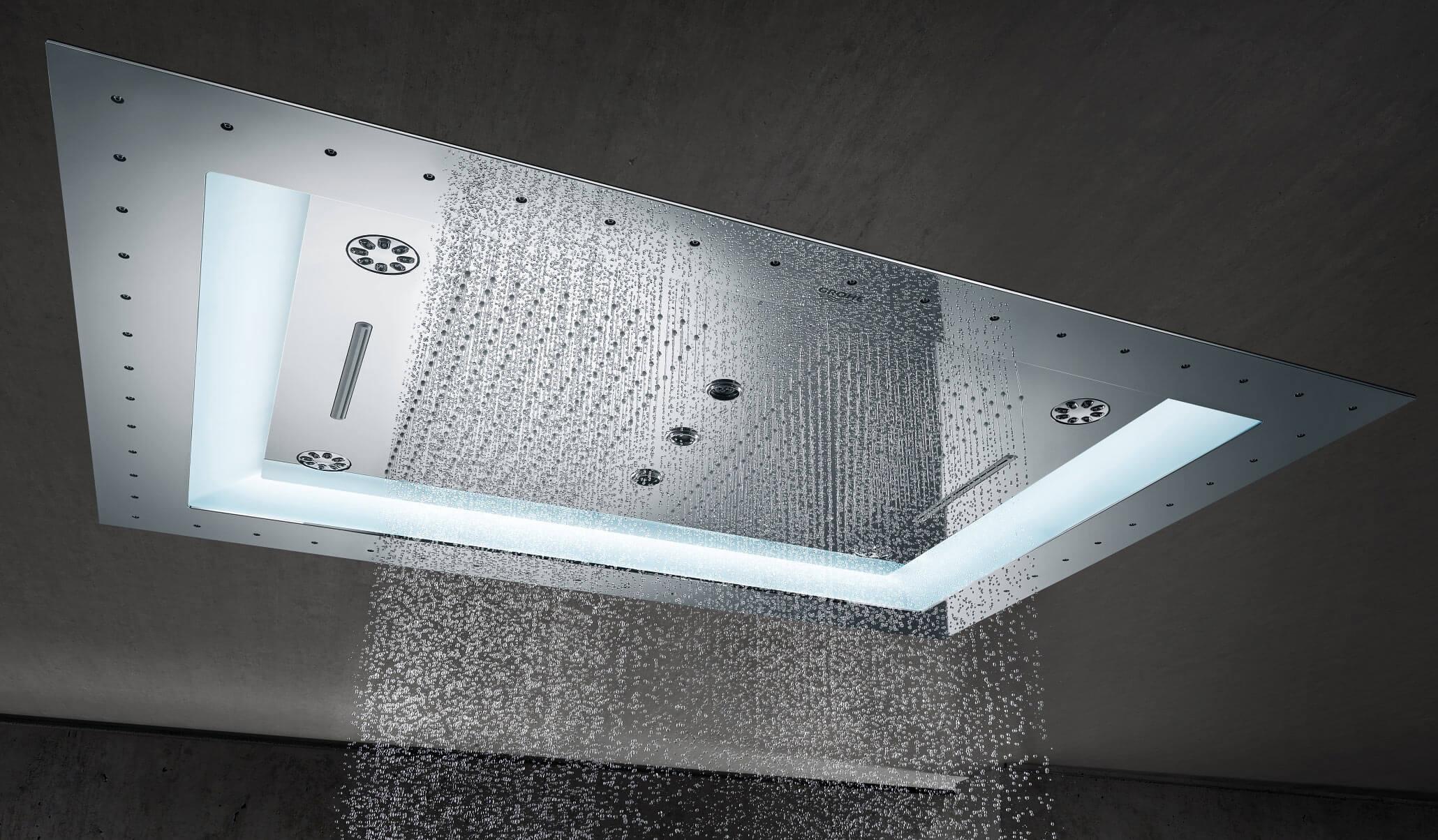 """Grohe Rainshower F-Series 40"""" AquaSymphony Deckenbrause 6+ Strahlarten mit Licht"""