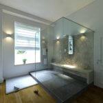 Große Dusche mit Wandtapete