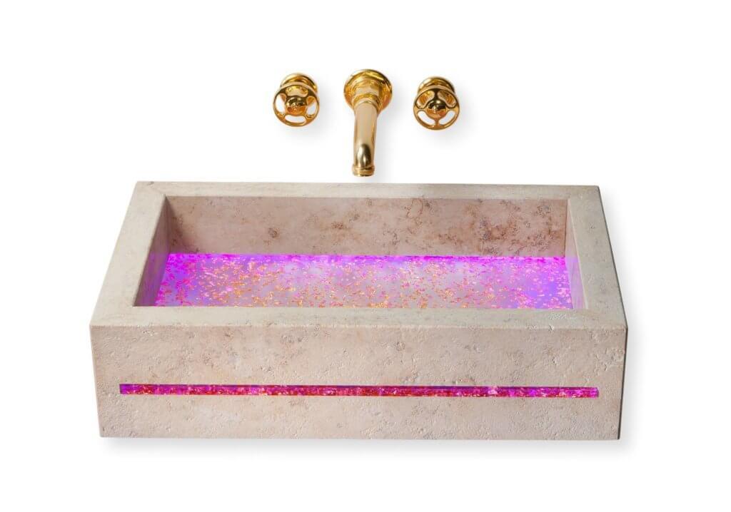 Naturstein Bäder Beispiele - Natursteinfliesen in der Dusche. Naturstein macht aus jedem Badezimmer eine wahre Wellnessoase. Naturstein im Badezimmer IdeenDas edle Design-Waschbecken JUBASSIN. Aufwendig veredelter Naturstein wird dabei mit effektvollen, edlen Acrylelementen kombiniert. Die Symbiose von schweren und hochwertigen Naturelementen und leichten, neuen Materialien sind die herausragenden Eigenschaften für das neue Design von JUMA EXCLUSIVE.