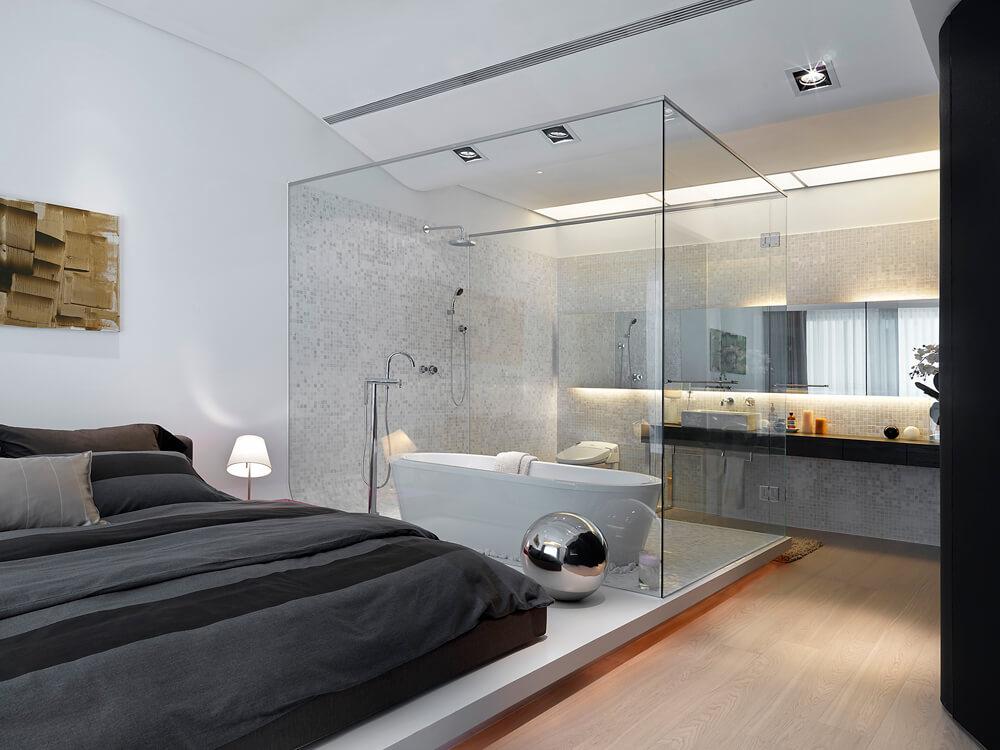 Bad im Schlafzimmer integriert