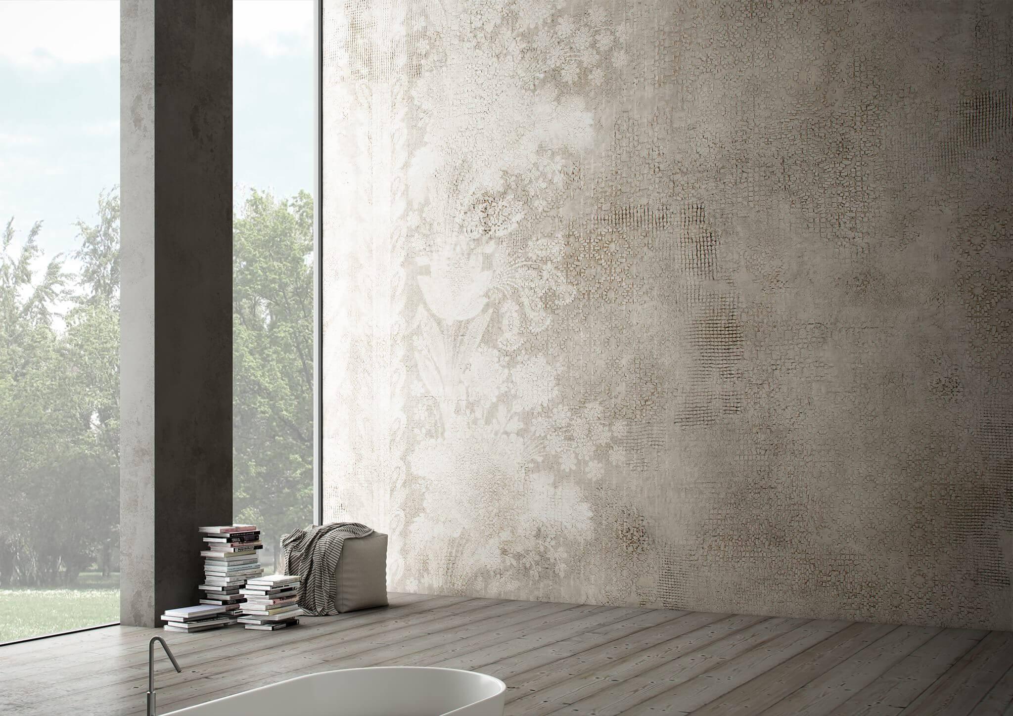 Cersaie 2017 Designexperte Torsten Mueller Baddesign Lifestyle Schoener Wohnen Trends News Wandtapete TRACE Touch Collection byGlamora