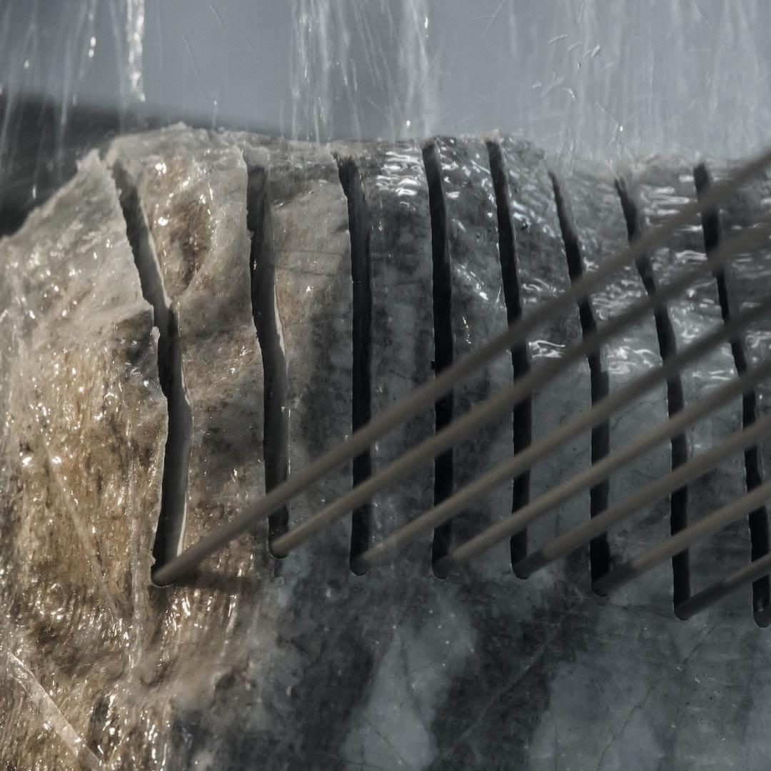 Blockkreissäge massiver Naturstein schnitt