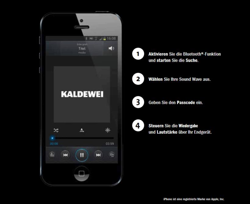 Mit SOUND WAVE bieten wir Ihnen ein einzigartiges Klangerlebnis sowohl in als auch unter Wasser. Mehr noch lässt Sie das innovative Bad-Audio-System im Klang baden! Dabei wird die Wanne zum wertvollen Klangkörper, der Sie Ihre Musiksammlung am Smartphone, Laptop oder Tablet völlig neu erleben lässt. Tauchen Sie ein in die wahlweise entspannenden oder belebenden Momente Ihrer ganz persönlichen Badezimmer Playlist. SOUND WAVE. UNSICHTBARER HÖRGENUSS Das Bad-Audio-System wird zusammen mit der Badewanne installiert. Dazu kommen sechs Akustikplatten und zwei Körperschallwandler außen an den Wannenkörper. Um das kostbare Stahl-Email zu schonen, werden die Audio-Komponenten angeklebt. Die Schallwandler sind mit Empfänger und Steuerungsbox verbunden und die Box wiederum mit der Stromversorgung.