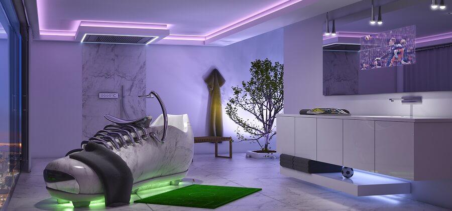 Weltmeisterliche Design-Studie: Luxuriöse Naturstein-Badewanne in Form eines Fußballschuhs