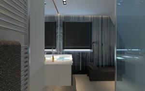 In einem modernen Bad herrscht einfach die perfekte Ordnung. Moderne Bäder sind elegant, sauber und gut aufgeräumt.
