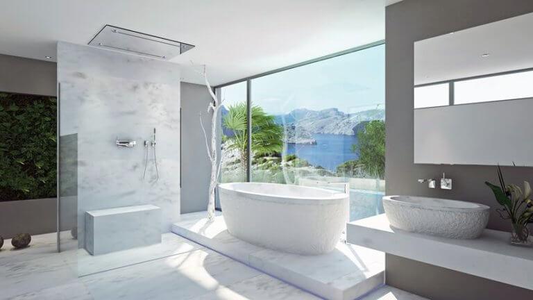 weißes Traumbad freistehende badewanne