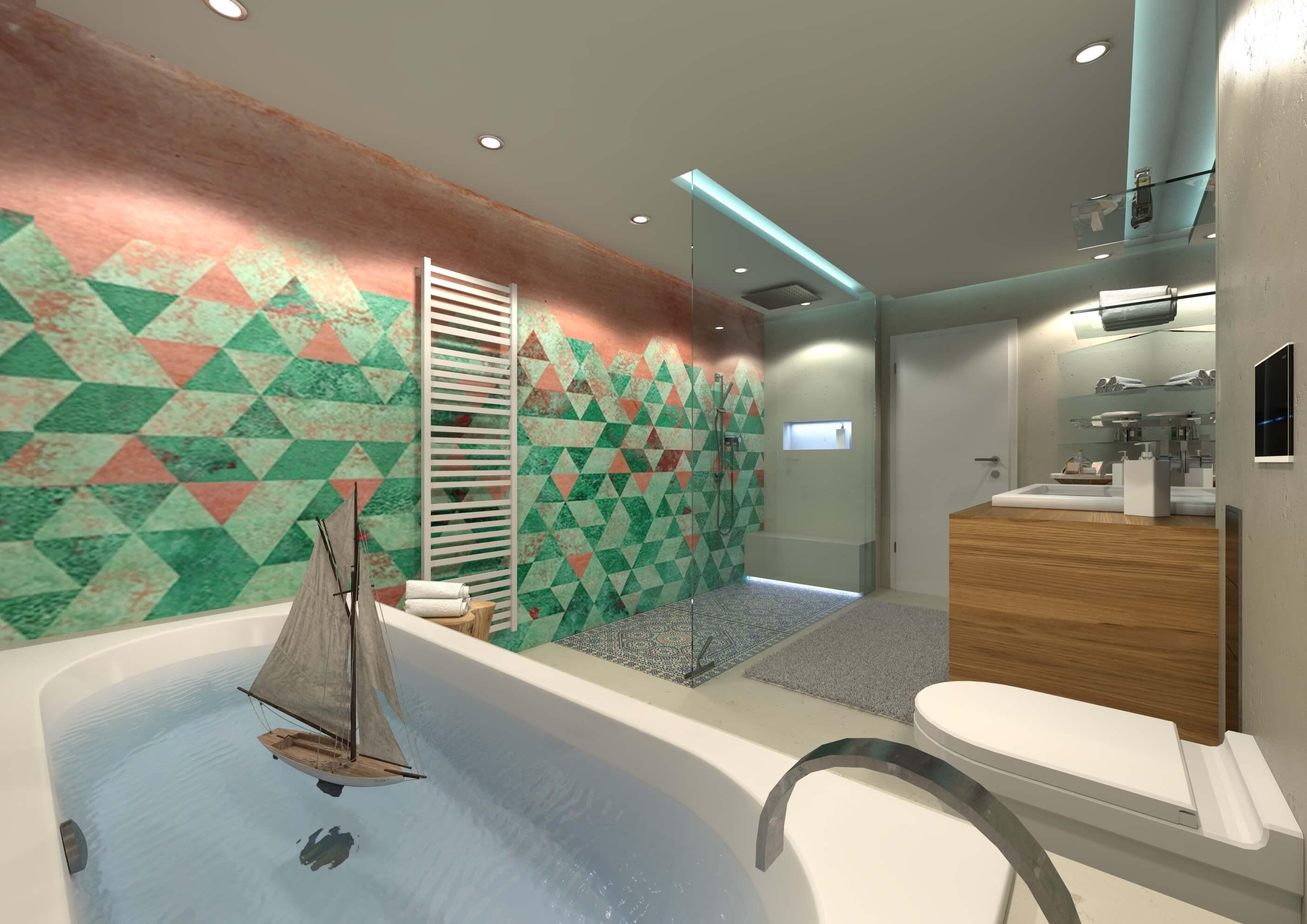 WET SYSTEM Innovation und Funktionalität WET SYSTEM™ ist die technische Beschichtung mit eingereichtem Patent für feuchte Bereiche wie bspw. Badezimmer, Termalbäder, Wellness- und Fitness-Studios. In einem einzigen System ist die wasserabdichtende Funktion der flüssigen Oberflächenschicht mit den hochwertig dekorativen Tapeten der Wall&decò vereint. Im Gegensatz zu anderen Wandbeschichtungen, ist das WET SYSTEM™ nicht nur wasserdicht, sondern auch ein dekorativer Wandbezug, der den Wasserdurchfluss in die darunterliegende Schicht verhindert und die Wasserabdichtung der behandelten Oberflächen in Nassbereichen wie Badezimmer und Duschboxen garantiert.