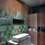 Die gesamte Wand hinter der Dusche wird von der Wall and Deco Wet System Feuchttapete eingenommen. Die moderne Tapete stammt aus der Kollektion PATINA (WET_PA1401), die von dem Designstudio Alhambretto + Am Prod entworfen wurde. An der Schnittstelle zwischen Poesie und Funktionalität ist das abstrakt-graphische Muster, das von einer echt scheinenden Patina bedeckt ist, auf die patentierte Tapete aus dem Hause Wall & Deco angebracht, die speziell auf den Gebrauch in Feuchträumen ausgelegt ist.