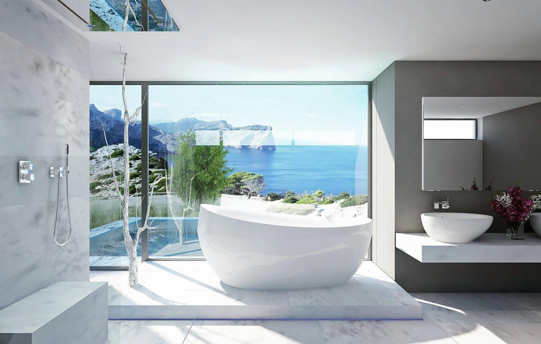 Badarchitektur Trends mit einem hochfeinem Weiß in der Badarchitektur