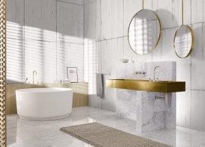 Dornbracht_Vaia neri Gold und Messing setzen farbliche Akzente im Bad und erzielen beim Badnutzer das Feeling von modernem Luxus
