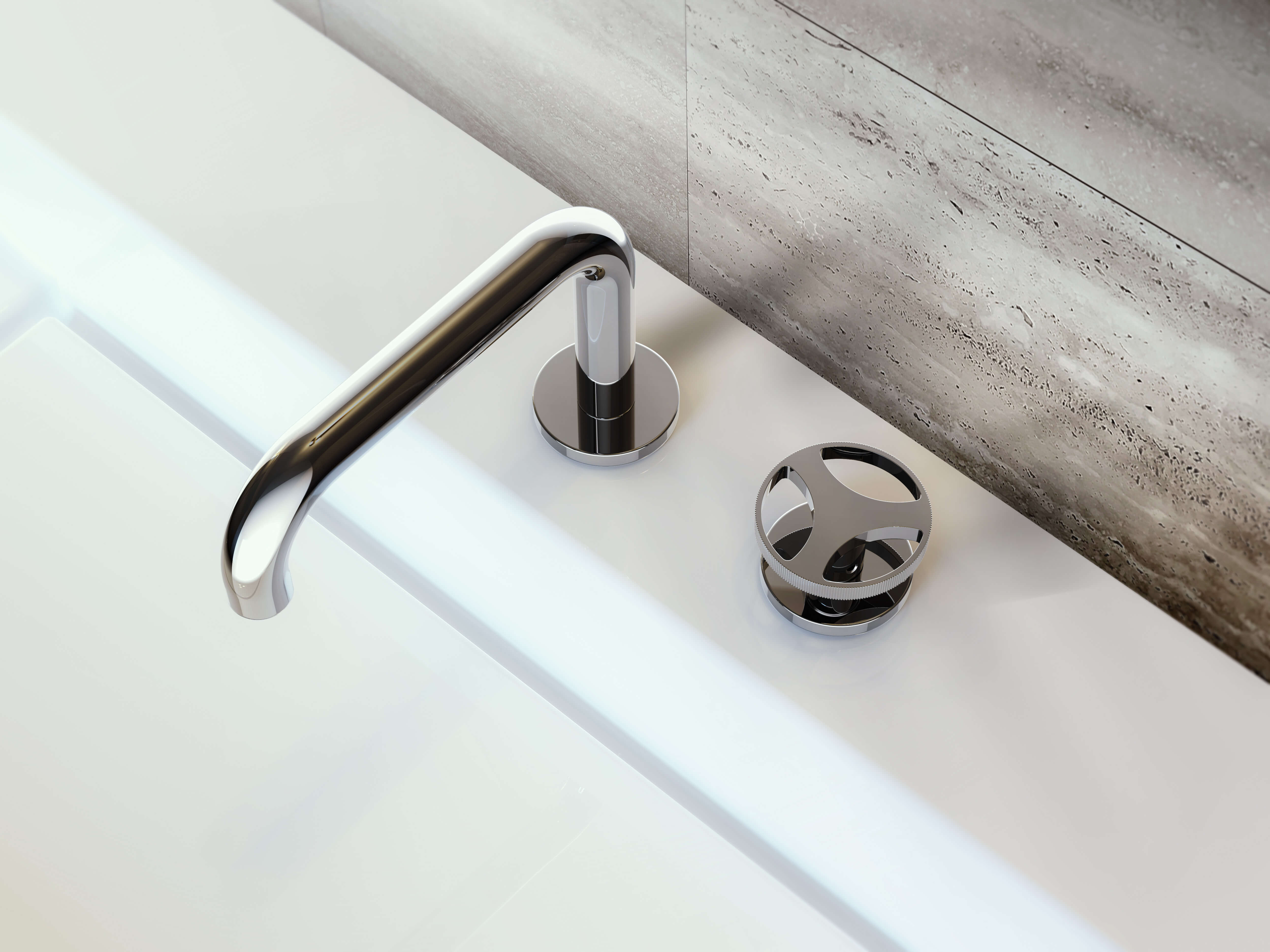 Der Griff, eine elegante Neuinterpretation der industriellen und mechanischen Form des Lenkrads, verleiht der Serie ihre Einzigartigkeit. Sie verbindet modernes Hightech mit klassischem Industriecharakter und wird so zum einzigartigen Eyecatcher im Badezimmer.