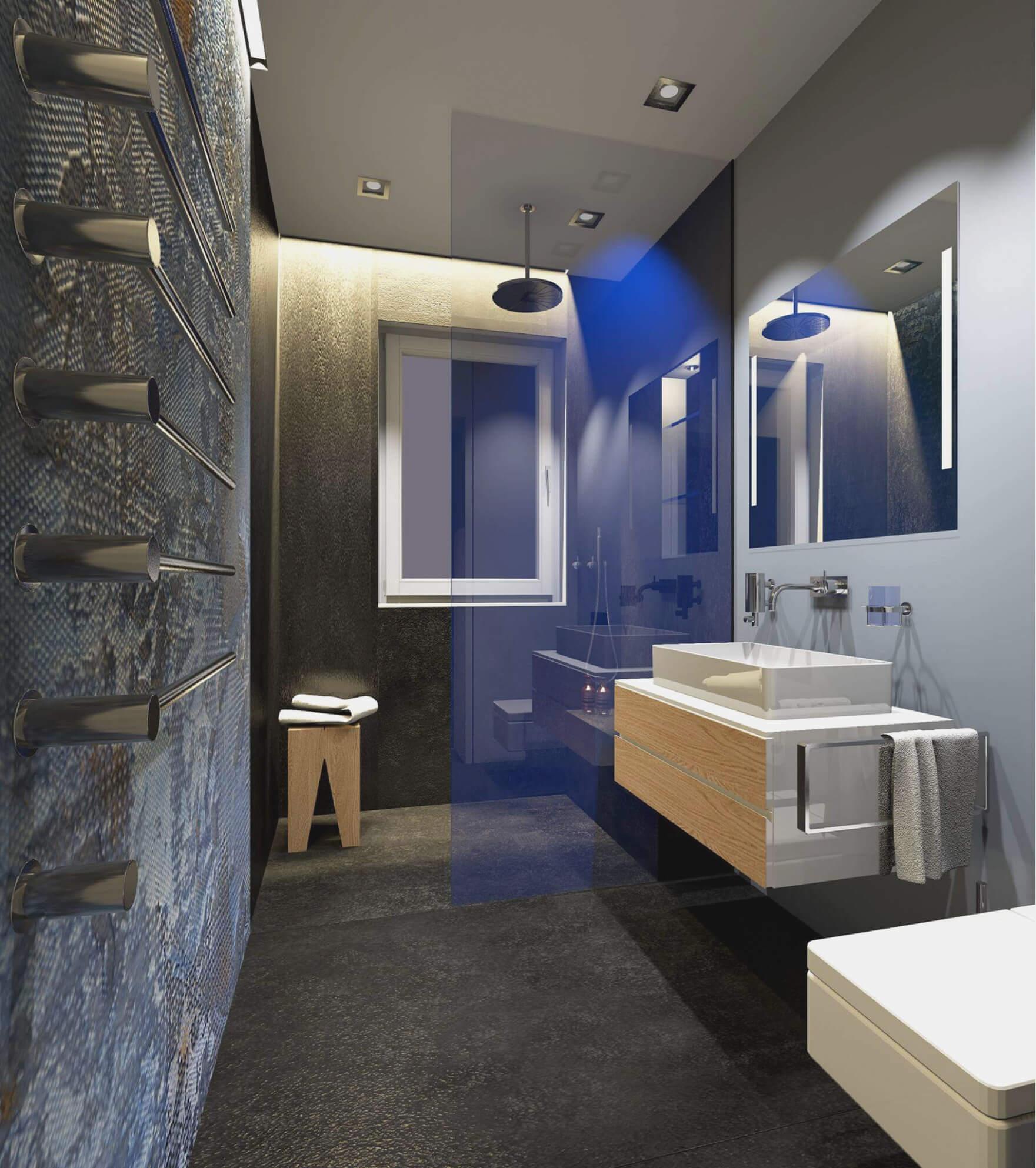 Der Boden und die Wand bilden eine optische Einheit, die den Raum erfasst unda damit das Badezimmer vergrößert
