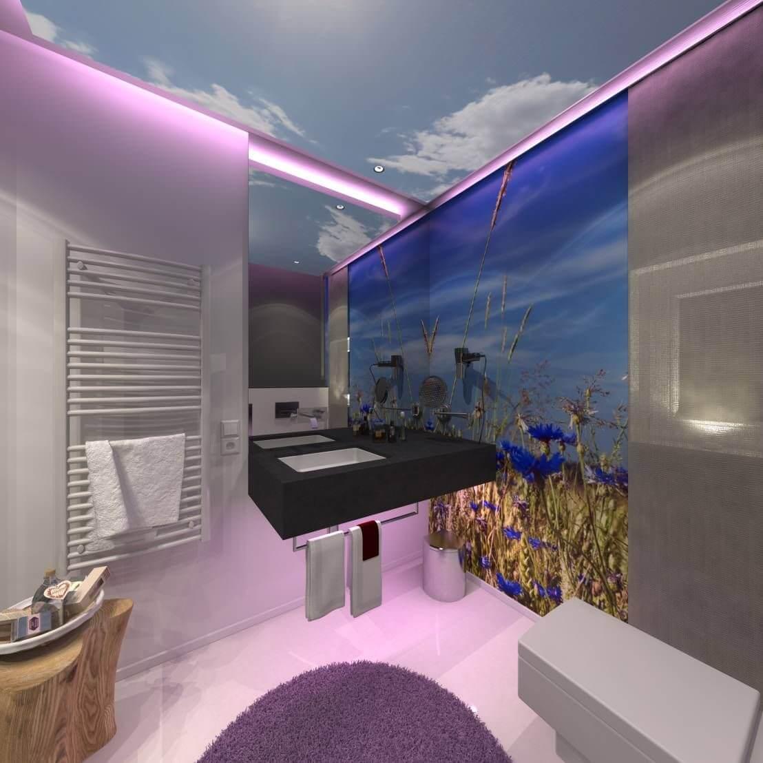 Die geringe Unterscheidung zwischen der Farbe des Bodens und der Wände, das helle Farbschema und das Fehlen von Fugen vergrößern das kleine Badezimmer