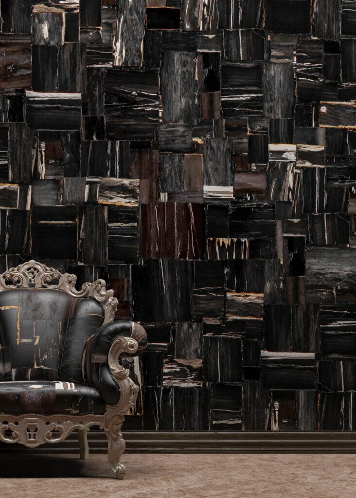 Retro Black Petrified Wood Antolini Naturstein Precioustone Collection
